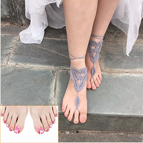 Crochet Black Barefoot Sandals,Beach Pool,Nude shoes,Foot jewelry,Footless sandles,Beach Wedding Jewelry,Yoga Chain,Anklet, Wedding shoes, Beach Wedding, Summer shoes, One Size Fits All (Grey)