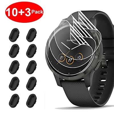 [10+3 Pack] Compatible with Garmin Vivoactive 4 Screen Protector Film with Charger Port Protector, Silicone Anti-dust Plug Black + HD Clear Screen Protector Film for Garmin Vivoactive 4(45mm)