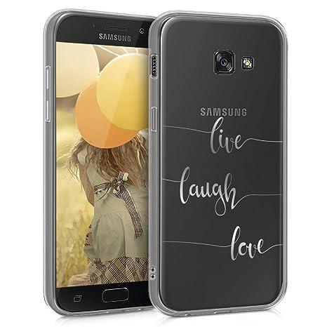kwmobile Funda para Samsung Galaxy A5 (2017) - Carcasa Protectora de [TPU] con diseño Live, Laugh, Love en [Plata/Transparente]