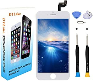 DTLake Premium Screen Replacement, Compatible iPhone 6S 4.7inch (Model A1633, A1688, A1700) LCD Replacement Screen with 3D Touch Screen Digitizer Fram Assembly Full Set + Free Tools (White)