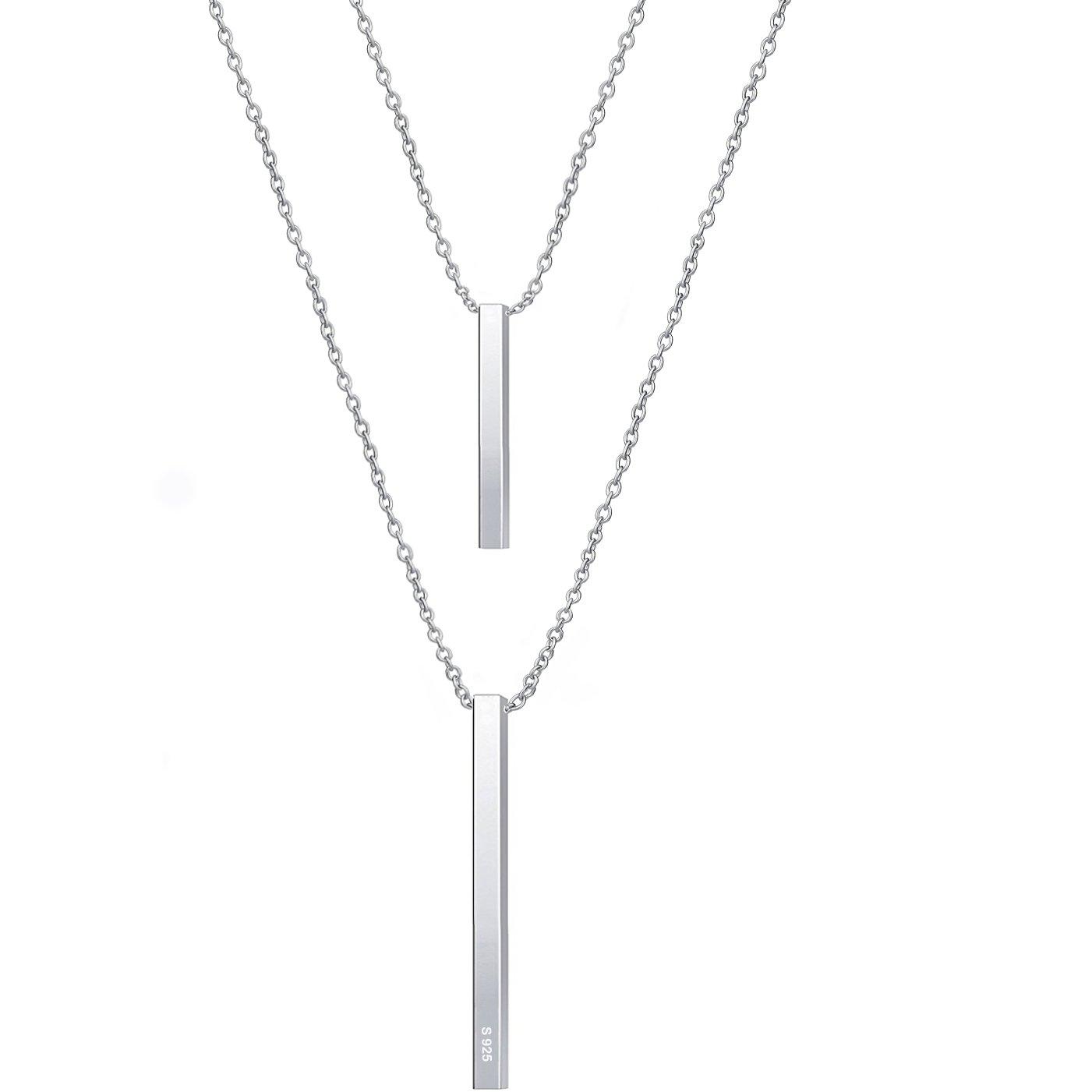925 Sterling Silver Multilayer Bar Pendant Necklace, Boho Stick Bar Choker Necklace Minimalist Y Necklace for Women