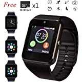 Bluetooth Smart Watch with Step counter - Aidiado Touch Screen Sport Smart Wrist Watch Phone with Pedometer SIM Card Slot Camera,Fitness Tracker Compatible iPhone Samsung Android iOS LG Phones Men Wom