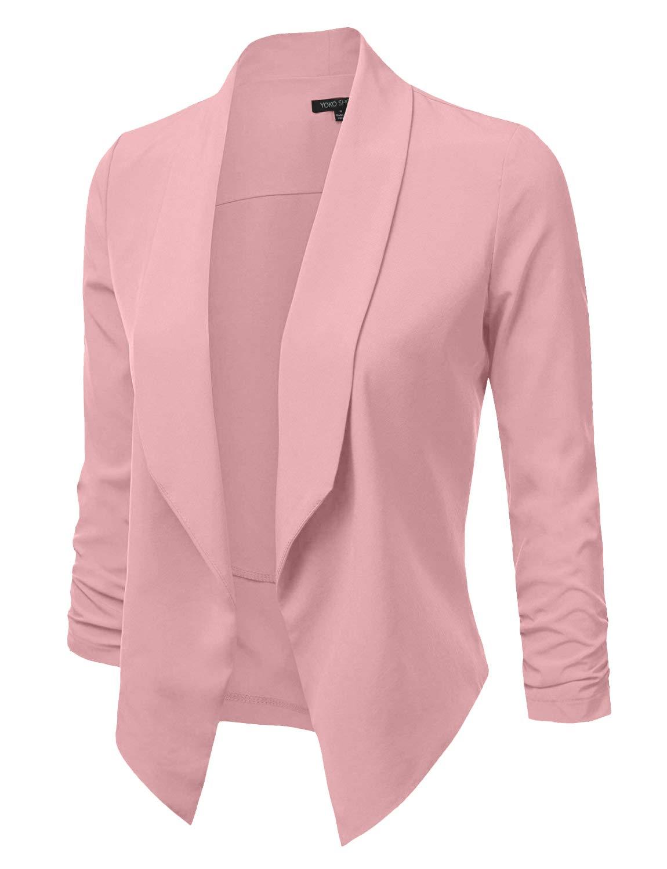 YOKO SHOP Women's Lightweight Open Front Draped Tuxedo Blazer Jacket
