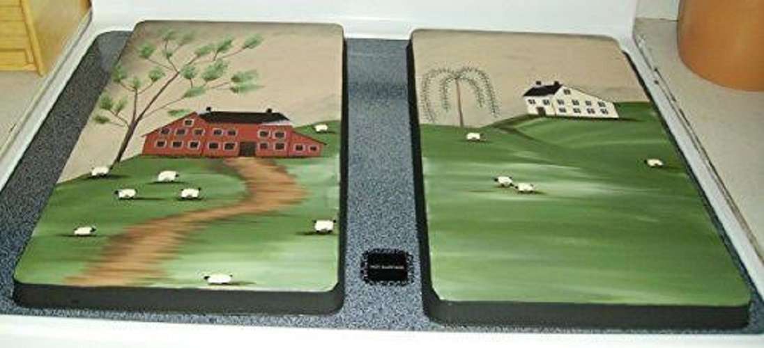 Primitive Country Decor Hand Painted Farmhouse Homestead Stainless Steel Stove Burner Covers Set of 2