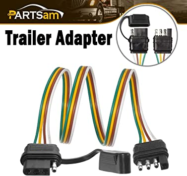 Amazon.com: Partsam Trailer Wire Extension Plug, 4 Pin Hitch Light Trailer  Wiring Harness Extender with Rubber Cab for LED Brake Tailgate Light Bar,  32