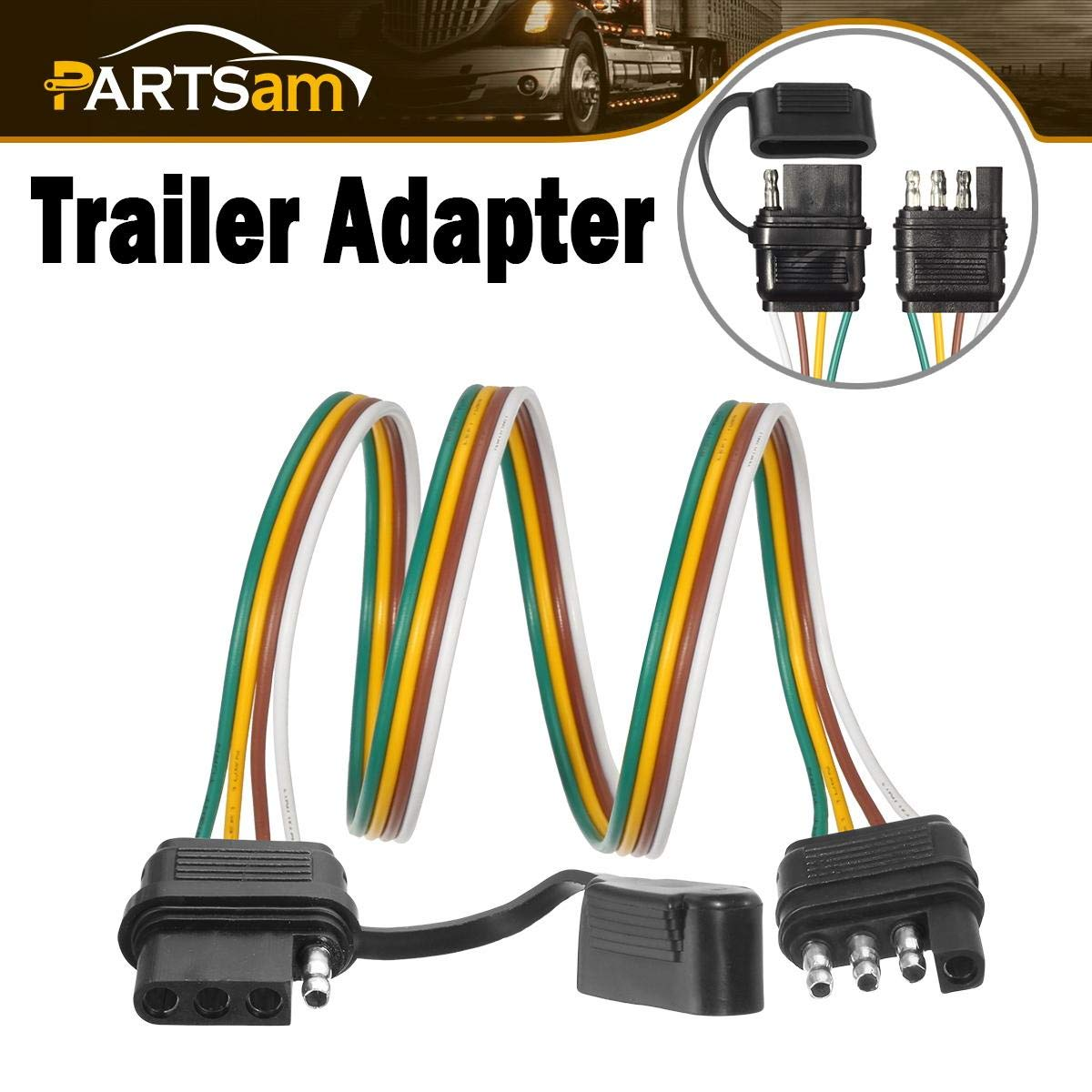 Partsam Trailer Wire Extension Plug, 4 Pin Hitch