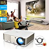 WIKISH High Resolution HD LCD Multimedia Home Theater Video Projector with HDMI Cable, Support 1080P HDMI USB VGA AV TV Laptop for Home Cinema/Video Games/Movie Night