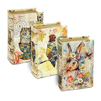 CAPRILO Set de 3 Cajas Libro Decorativas Buho, Gato y Conejo Cajas Multiusos. Regalos Originales, Joyeros. Decoración Hogar. 5 x 17 x 11 cm.