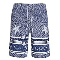 LETSQK Men's Stars and Stripes Printed Swim Trunks Quick Dry Blue Surfing Boardshorts