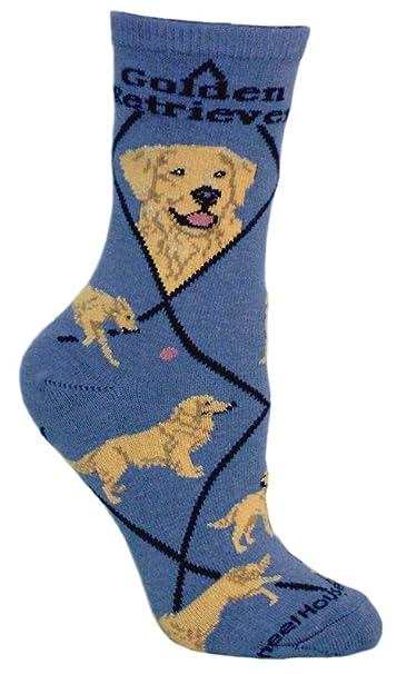 Wheel House Design Golden Retriever Fun Novelty Dog Blue Socks At