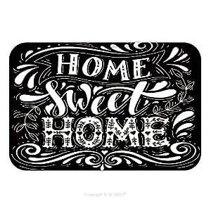 Franela de microfibra antideslizante suela de goma suave absorbente Felpudo alfombra alfombra alfombra Home Sweet Home nome Inspirational Quote mano Drawn ilustración con mano letras 469734110para interiores/para exteriores/baño/K
