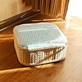 D&L Bamboo Round Stool, Solid Wood Zafu Hand Knitting Footstool Creative Vintage Decoration Shoe Stool-F L30xW30xH12cm
