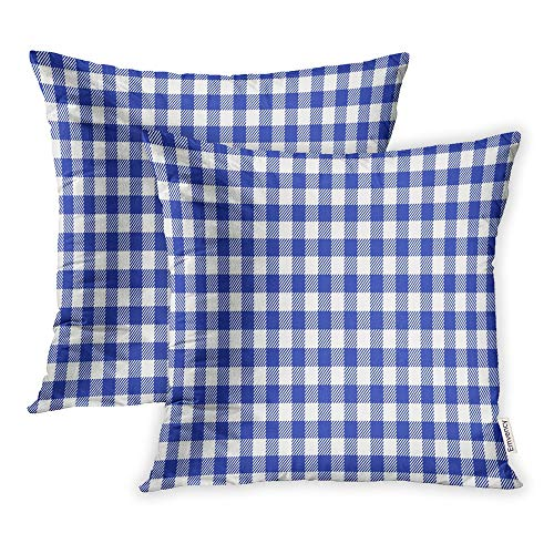 Emvency Pack of 2 Throw Pillow Covers Print Polyester Zippered Pattern Blue and White Italian Checkered Picnic Pillowcase 18x18 Square Decor for Home Bed Couch Sofa