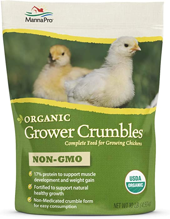 Manna Pro Grower Crumbles for Chickens | Non-GMO & Organic Grower for Laying Hens | 30 Pounds