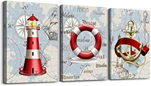 ocean theme life buoy lighthouse ship pendant 3 piece Canvas Prints bathroom Wall Art for Bedroom Wall decor Artworks red Pictures wall decorations for living room, Home decor office wall paintings