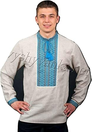 Vyshyvanka Modern Designed Mens Ukrainian National Shirt with Real Embroidery.