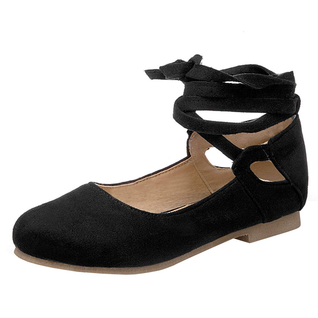 46f75c70ca3 Vitalo Women's Lace Up Ballet Flats with Ankle Strap Round Toe ...