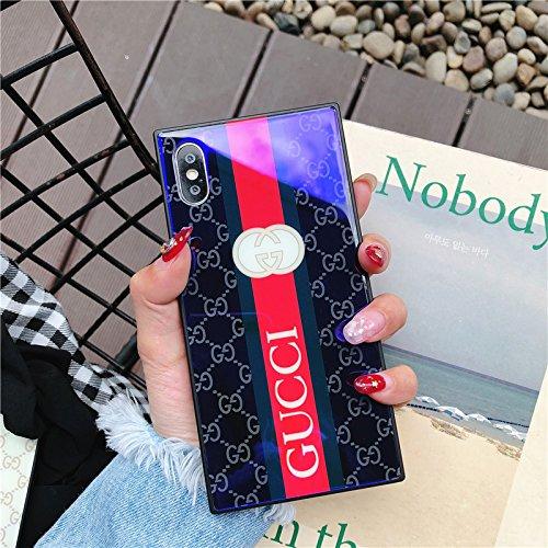 iPhone8 Plus Case, iPhone7 Plus Case, Elegant Luxury Fashion Designer Monogram Cover Tempered Glass Back and Soft Bumper Shock Absorption Scratch-Resistant Case for iPhone8 Plus iPhone7 Plus