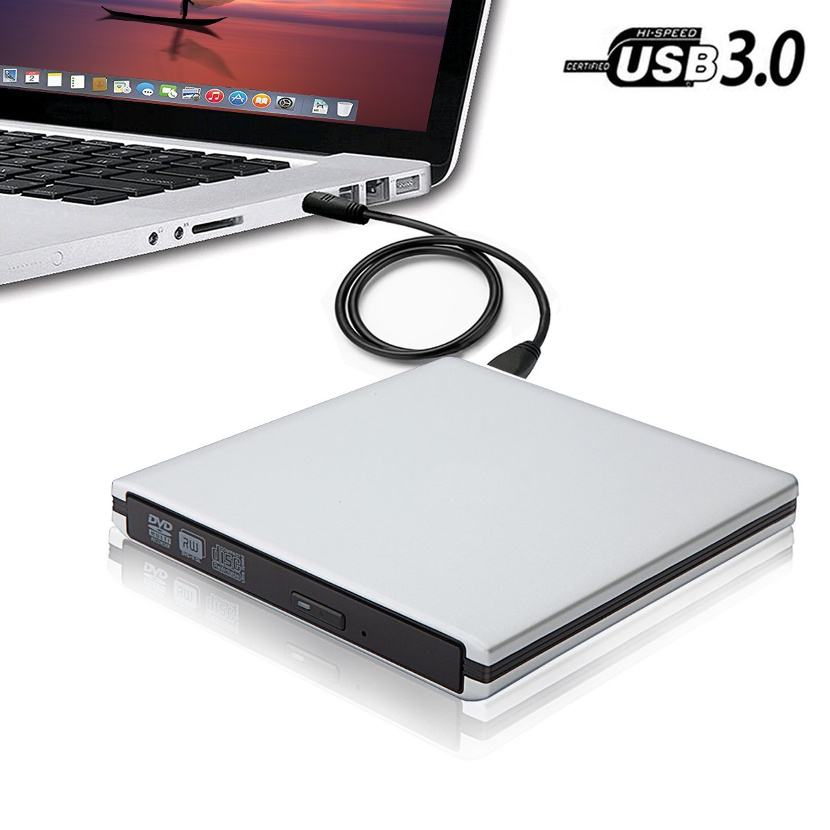 USB3.0 Computer CD DVD External Drive for Laptop Notebook PC Desktop,TENNBOO Portable CD/DVD-RW Burner Writer Player Support Windows XP/ Vista/7/8/2000,Mac,Plug and Play High Speed Data Transfer