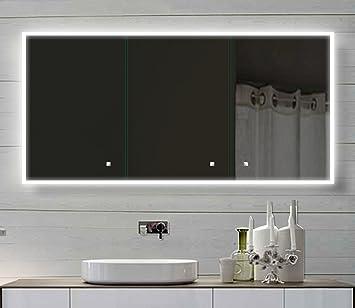 Alu Badschrank badezimmer spiegelschrank bad LED Beleuchtung 140 x ...