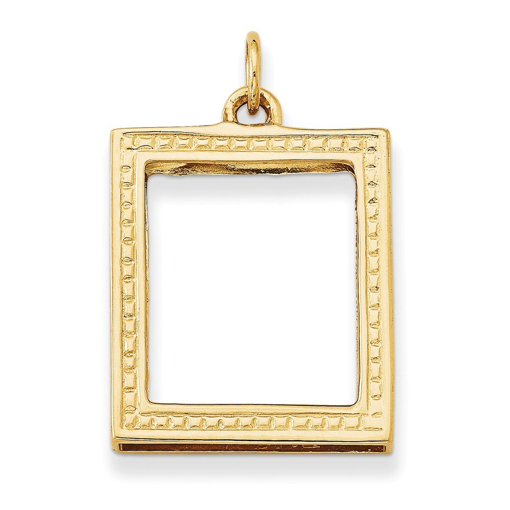 14k Yellow Gold Picture Frame Pendant (22 x 28 mm)