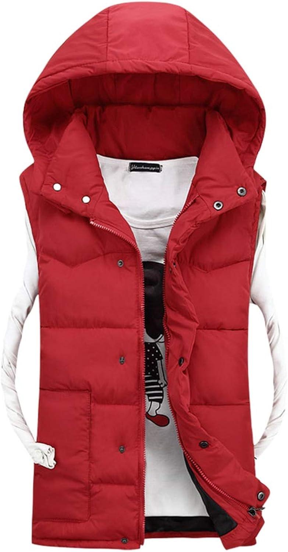 Zamtapary Men Puffer Vest with Hood Zipper Snap Button Winter Puffer Jacket