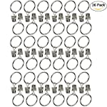 "Ogrmar 36Pack Inner Diameter 1"" Nickel Plating Metal Curtain Clip Rings"