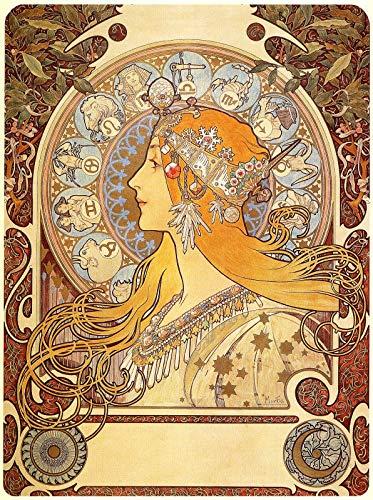1896 Art - WholesaleSarong Zodiac 1896 Alphonse Mucha Art Nouveau Poster Bedroom Wall Art Decor Wall Art unframed Prints
