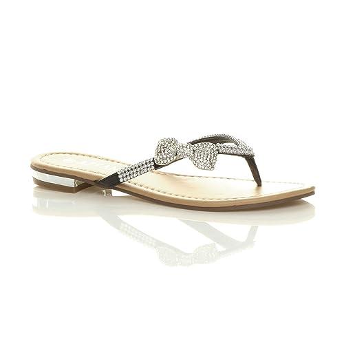 937bb53e510f3 Ajvani Womens ladies low heel flat beach wedding summer prom flip flop  sandals size  Amazon.co.uk  Shoes   Bags