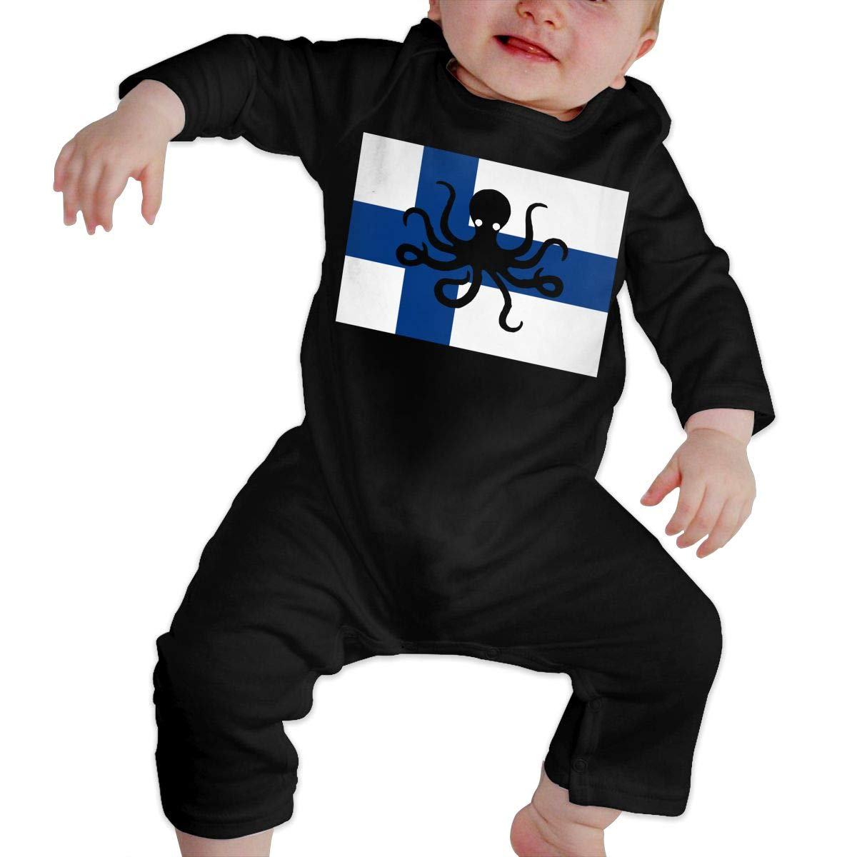 YUE--3BODY Octopus Finland Flag Newborn Baby Long Sleeve Infant Bodysuit Onesies