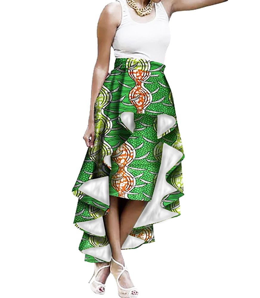 Liyuandian Womens African Print High Waisted Skirts Dashiki High Low Asymmetrical Long Maxi Skirt