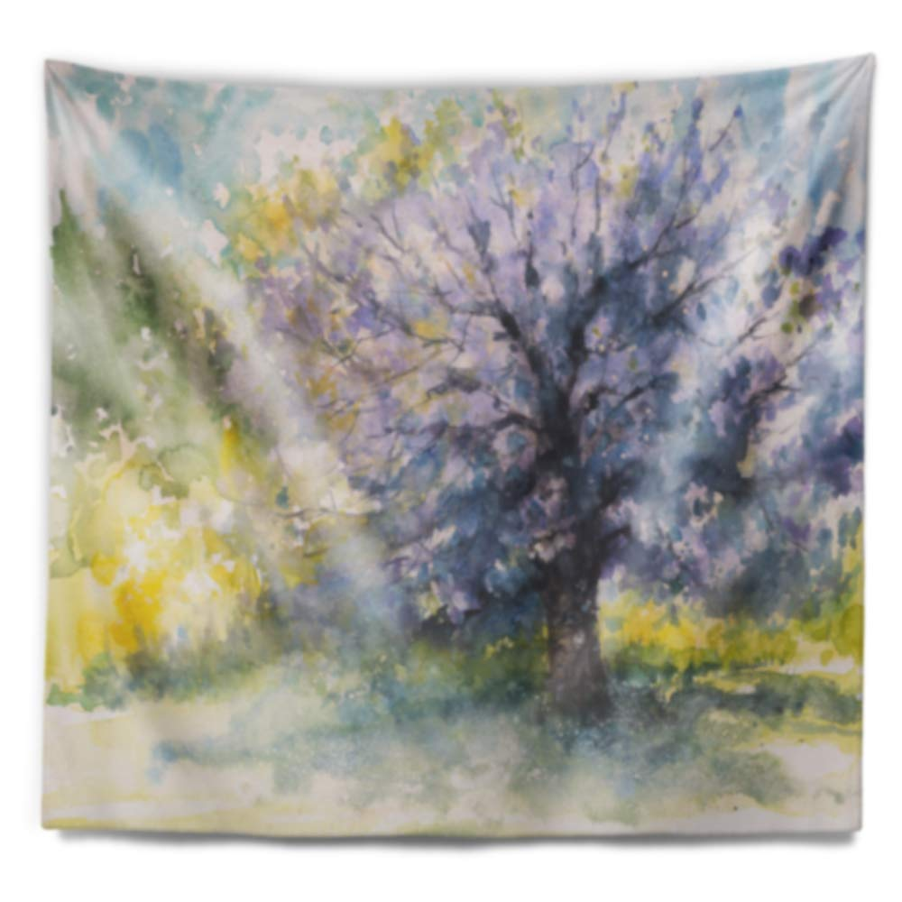 39 in Designart TAP9281-39-32  Blooming Cherry Tree Watercolor Floral Blanket D/écor Art for Home and Office Wall Tapestry Medium x 32 in Created On Lightweight Polyester Fabric