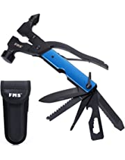 FMS Stainless Steel Multi Tool, Portable Multi-Functional Hammer Kit with Nylon Belt Pouch for Car Emergency, Camping, Household