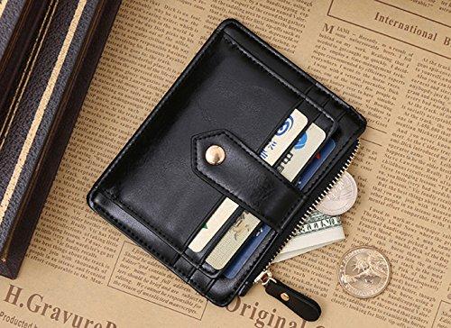 Kreditkartenhüllen Geldbörsen, itPlus Wallet Kreditkartenetui Echtes Leder Kreditkarten Geldbörsen -schwarz (one main Slots) one main Slots