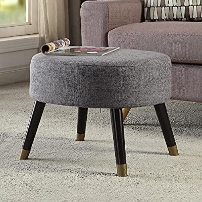 Convenience Concepts Designs4Comfort Gray Fabric Mid Century Ottoman Stool