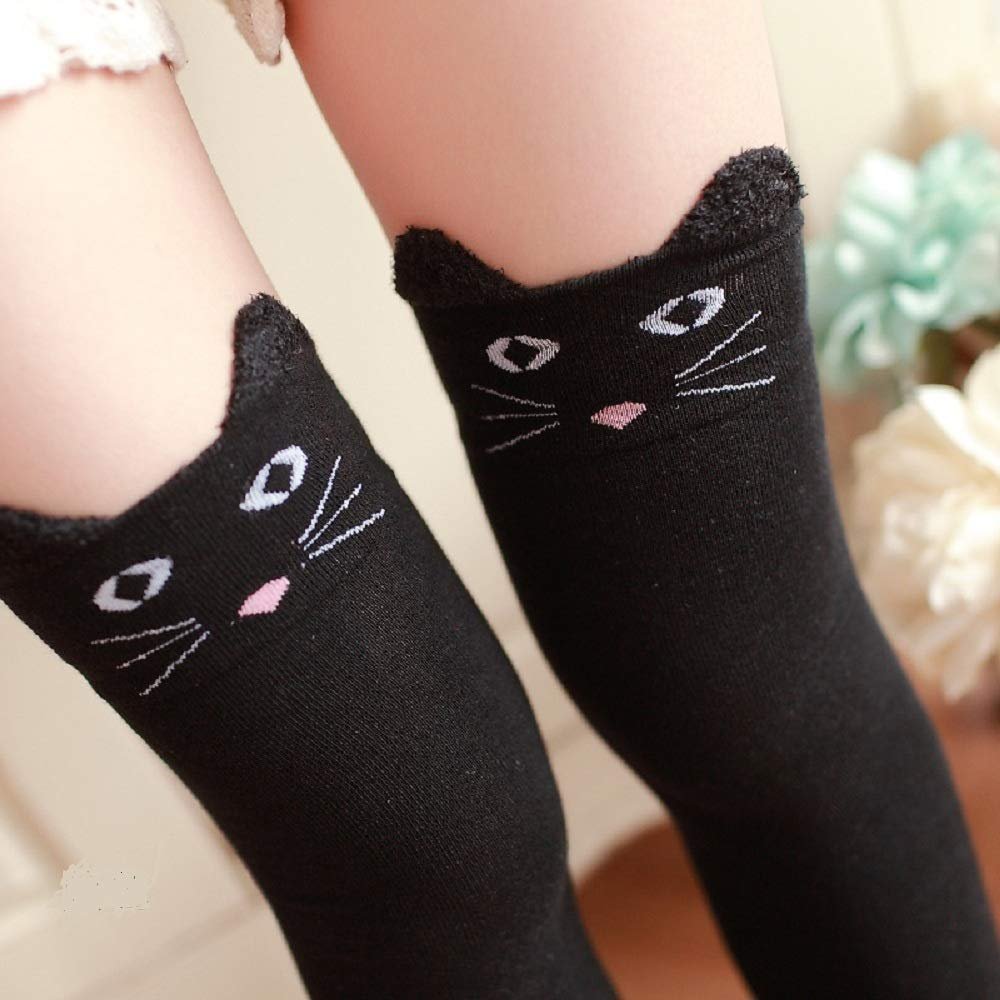 7279e53d42d Amazon.com  Womens Girls Long Striped Over Knee Thigh High Socks Funny  Crazy 3D Knitted Kitty Cat Black School Party Cosplay Custume Stockings