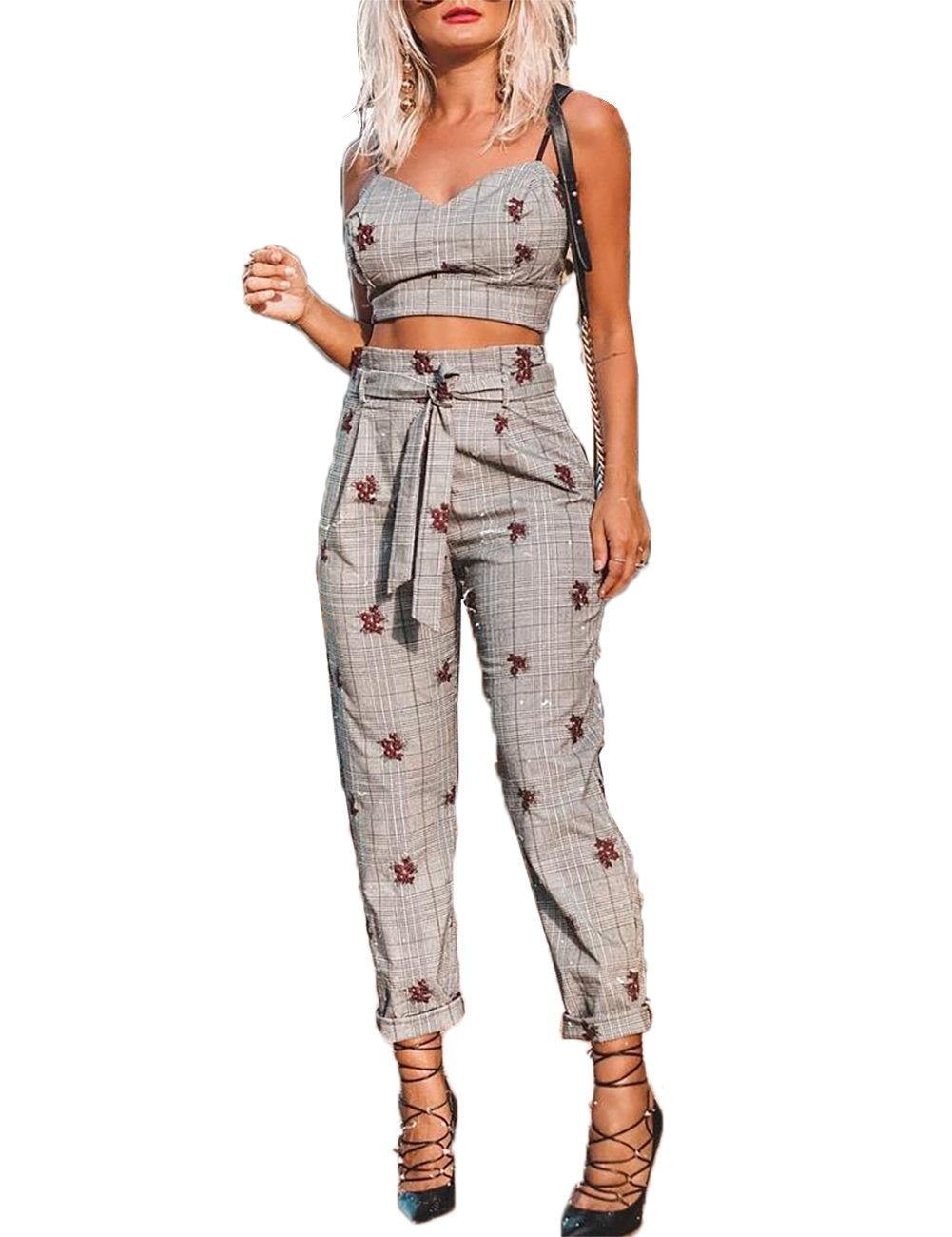 Senggeruida WomenGrid Cami Top & Self Belted Pant Set Grey M