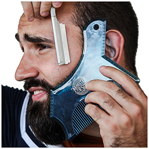 Monster&Son Beard Shaping Tool – New Innovative Design for 2019 (Blue Clear)