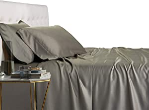 Royal Tradition 100 Percent Bamboo Bed Sheet Set, King, Solid Grey, Super Soft and Cool Bamboo Viscose 4PC Sheets