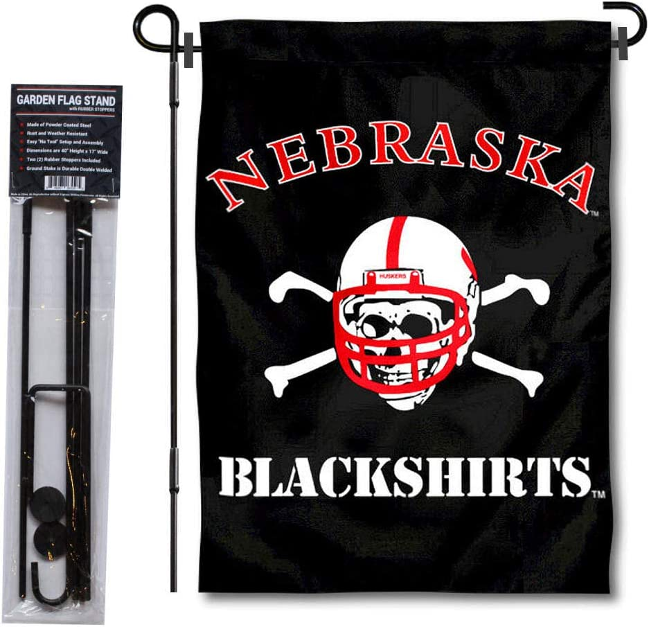 College Flags & Banners Co. Nebraska Cornhuskers Blackshirts Garden Flag with Pole Stand Holder