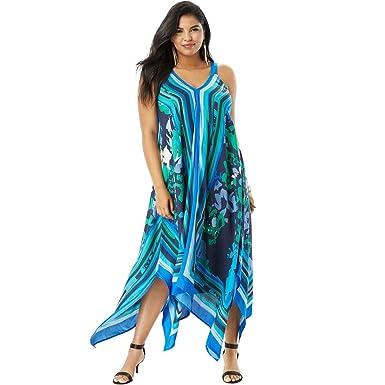 75b15597e1606 Roamans Women s Plus Size Scarf-Print Maxi Dress with Handkerchief Hem -  Blue Abstract Floral