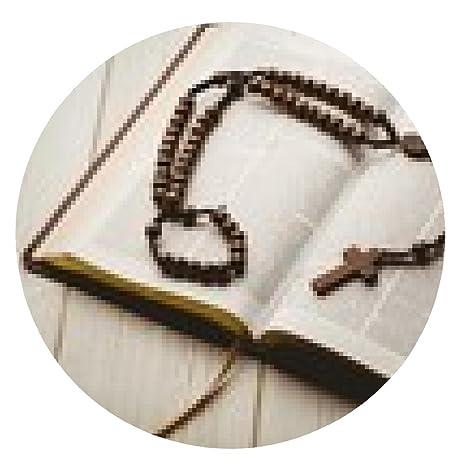 alfombrilla de ratón Abra la biblia y las cuentas del rosario de madera - ronda -