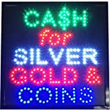 Cash for Silver Gold & Coins LED neon Open Pawn We buy sell Business Store Sign