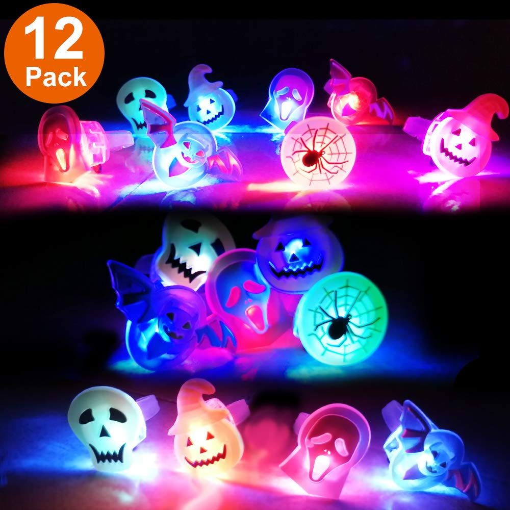 12 Pack Halloween Light Up Rings for Kids Adults Party Favors Flashing Glow LED Ring Bright Flash Toys Set Gift for Halloween Kid Party Supplies Indoor Decoration Holiday Pumpkin Ghost Spider Bat Randosk