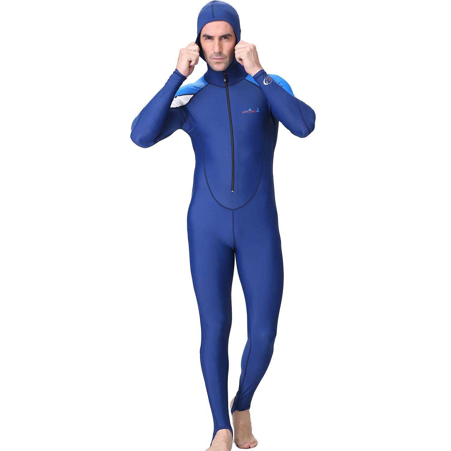 iCJJL Mens Long Sleeve Front Zip Hooded Wetsuit for Surfing, One Piece Triathlon Scuba Diving Spearfishing Surfing Snorkeling Stretch Diving Suit Swimsuit Jumpsuit by iCJJL