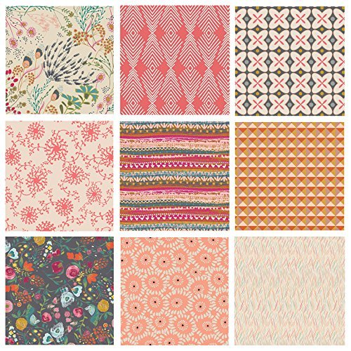 Boho Floral Quilt Bundle | Indie Folk by Pat Bravo | Earth Tones Fabric for Quilting | Rapture Winged Emmy Grace | Various Art Gallery Fabrics (Fat Quarters)