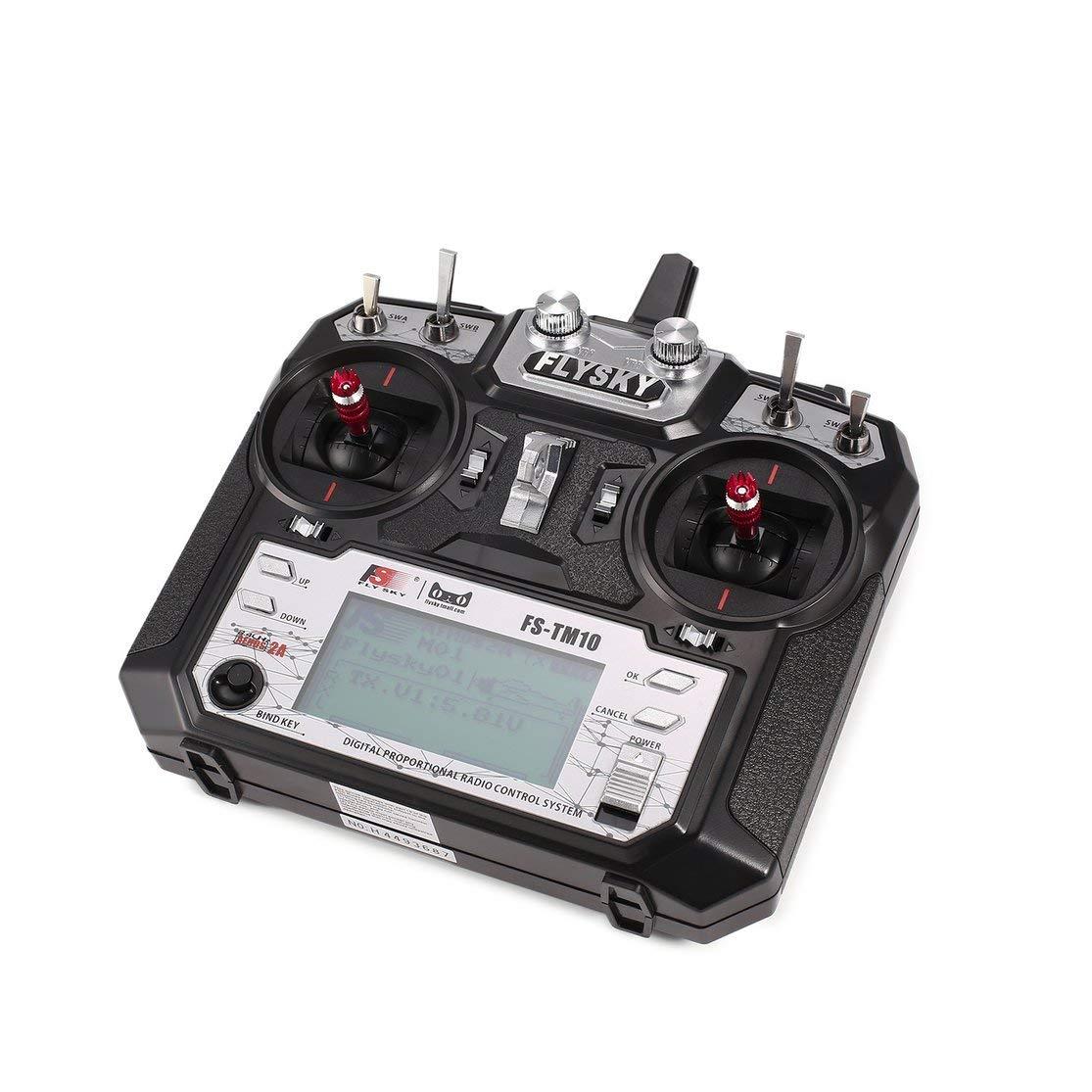 Color: Negro Flysky FS-TM10 FS-i6X 10CH 2.4GHz AFHDS Transmisor RC Modelo de Radio Sistema de Control Remoto con Receptor FS-IA10B Kaemma