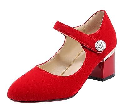 YE Damen Mary Jane Chunky Heels Pumps Geschlossene High Heels mit Riemchen und Blockabsatz 6cm Bequem Freizeitschuhe