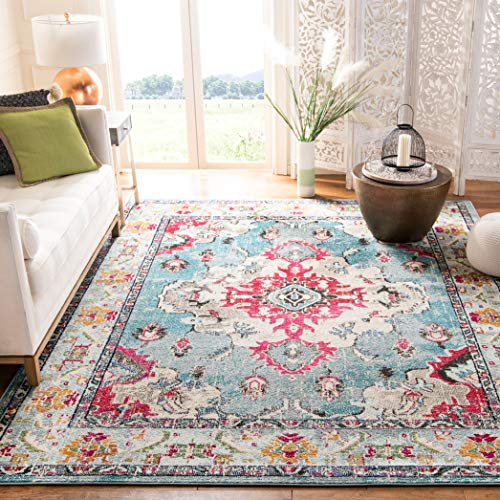 Safavieh Monaco Collection MNC243J Vintage Bohemian Light Blue and Fuchsia Distressed Area Rug (5'1
