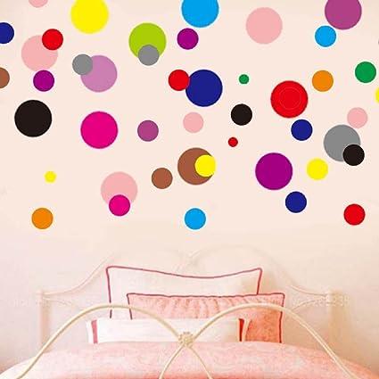Amazon.com: LiveGallery 120pcs Removable Multi-color Polka Dot Wall ...